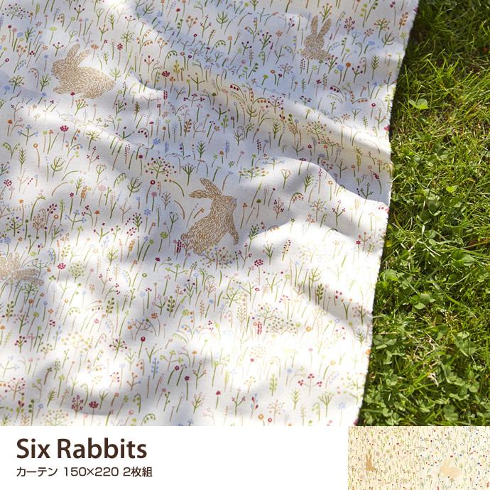 送料無料!【Six Rabbits カーテン 150×220 2枚組.220 カーテン 既製 生地 ナチュラル 柄 リビング 子供部屋 ホワイト うさぎ ラビット カーテン ホワイト、ナチュラル