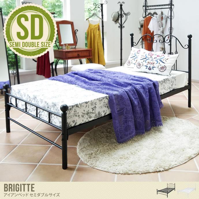 【セミダブル】スパニッシュテイストがお洒落なベッド/色・タイプ:ブラック&ホワイト 【セミダブル】Brigitte アイアンベッド